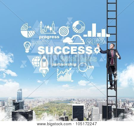 A Businessman In A Ladder Is Drawing Some Business Diagram In The Air As A Concept Of Success. A Clo