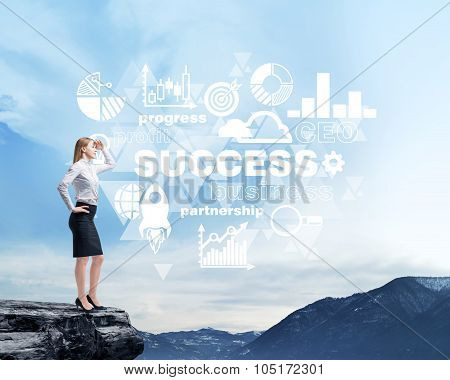 Full Length Beautiful Woman In Formal Clothes On The Rock. She Is Thinking About Success And Future