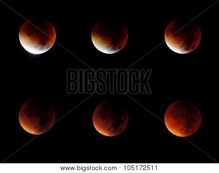 Set Of 6 Different Phases Of A Total Lunar Eclipse