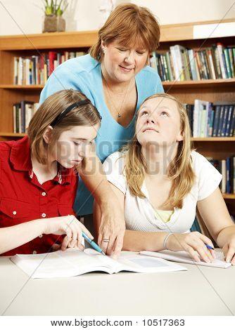 Bibliothecaris helpen studenten