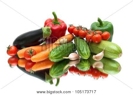 Ripe Vegetables Close-up On A White Background