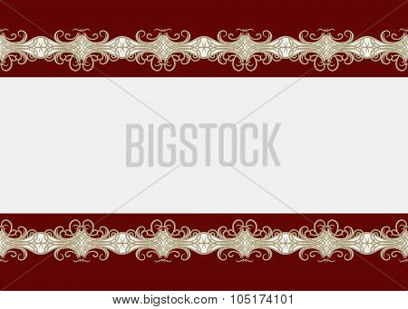 Red Background Border With Seamless Vintage Swirly Pattern