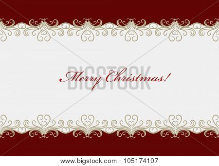 Red Christmas Card With Seamless Swirly Border