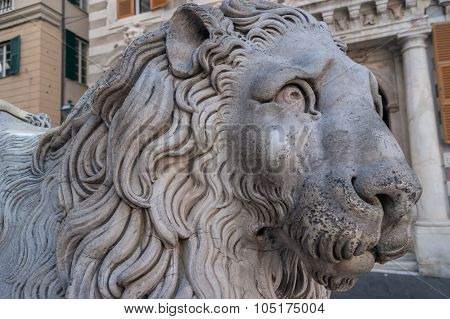 Lion close-up in front of St. Lorenzo Cathedral, Genoa