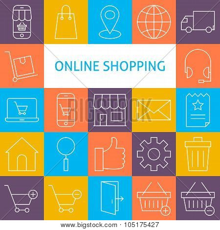 Vector Line Art Modern Online Shopping Icons Set