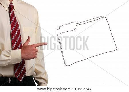 Man Pointing At A Folder