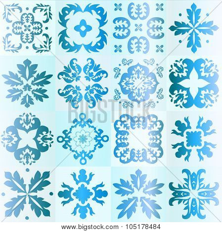 Seamless Blue Pattern Majolica, Arabic, Indian, Armenia. Stock Vector Illustration
