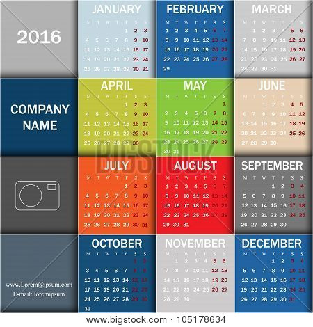 Calendar For 2016. Week Starts Monday. Info Graphic Design
