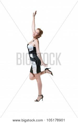 Young women, fashion model in black and white satin dress posing, looking beautiful and lovely