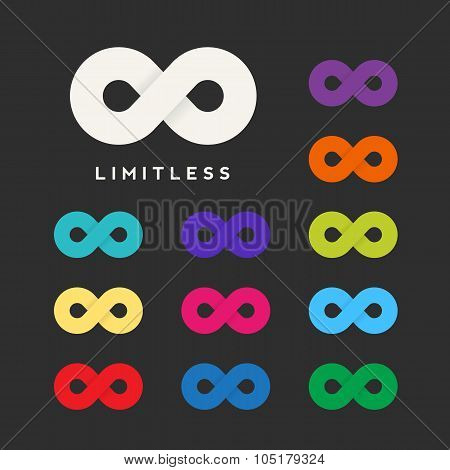 Abstract Vector Limitless Symbol, Icon or a Logo Template with Eleven Different Color Variations.
