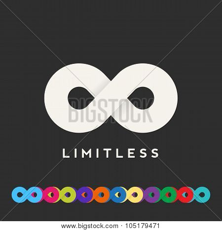 Abstract Vector Limitless Symbol, Icon or a Logo Template. Lots of Different Color Variations. Soft