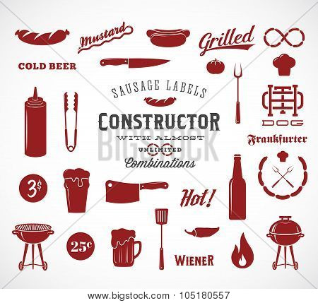 Sausage Vector Flat Icons and Typography Design Elements Such as Grill, Knife, Fire, Beer, etc. A Co