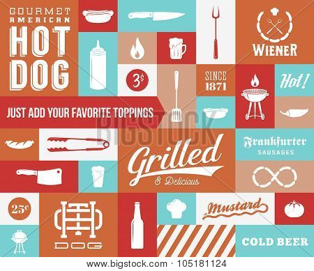 Hot Dog Vector Icon and Typography Set. Vintage Retro Signs or Labels with Design Elements.