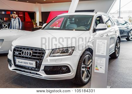 Baden-Baden, Germany - October 10, 2015: New models of the brand Audi in a dealer's showroom in Baden-Baden, Germany. Audi SQ5 TDI