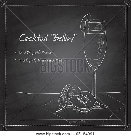 Cocktail belini on black board