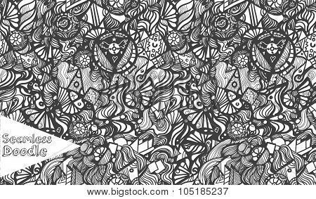 Hand Drawn Cartoon Fantasy Doodle Seamless Pattern.