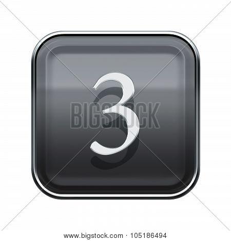 Number Three Grey Glossy, Isolated On White Background