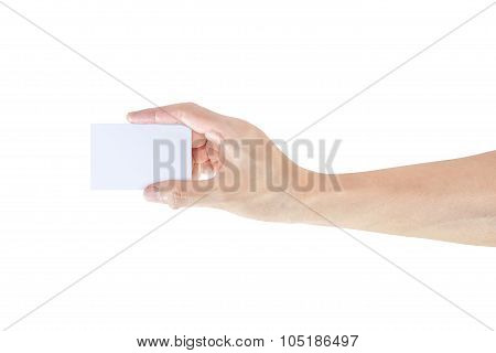 Hand With Blank Business Card Isolated In White Background