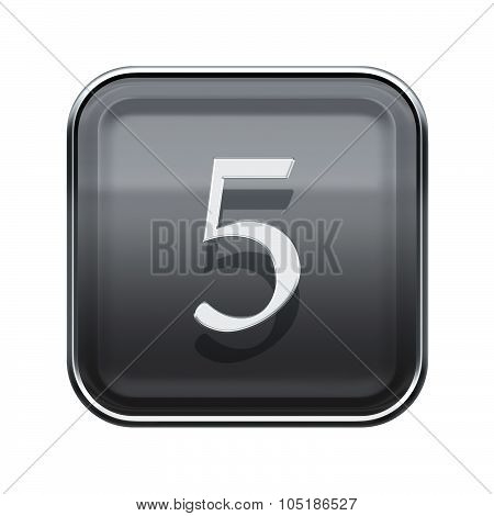 Number Five Grey Glossy, Isolated On White Background