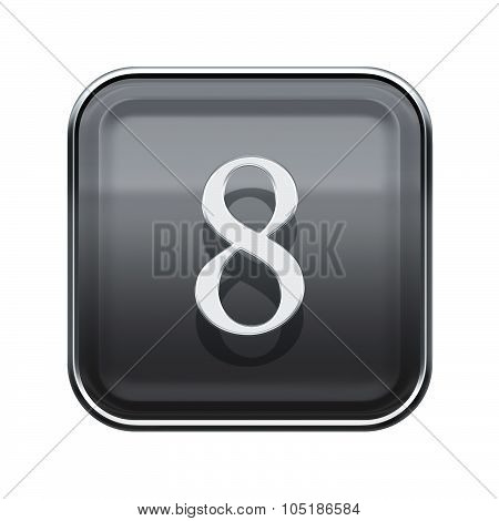 Number Eight Grey Glossy, Isolated On White Background