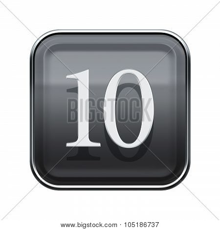 Number Ten Icon Grey Glossy, Isolated On White Background