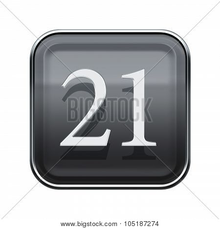 Twenty One Icon Grey Glossy, Isolated On White Background