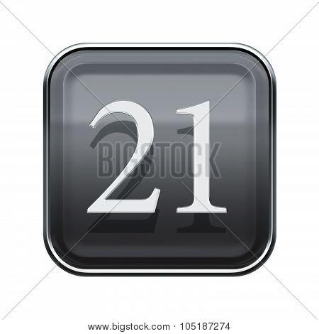 Twenty One Icon Grey Glossy, Isolated On White Background