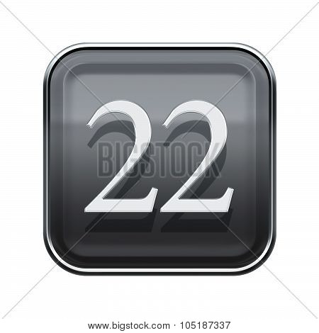 Twenty Two Icon Grey Glossy, Isolated On White Background