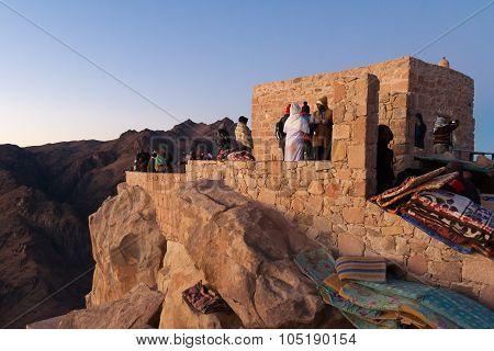 Pilgrims On The Top Of Mount Moses Awaiting The Sunrise. Egypt, Sinai Peninsula.