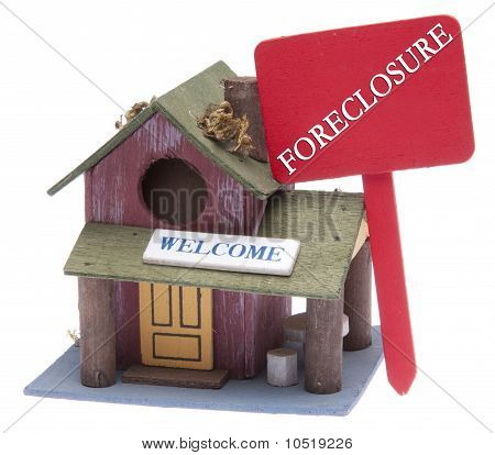 Farm Home With Red Foreclosure Sign