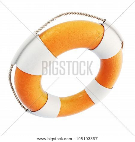 Lifebuoy Close-up Isolated On White Background. 3D.