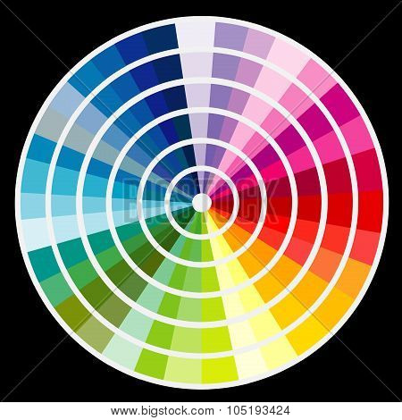 Color Round Palette On Black Background