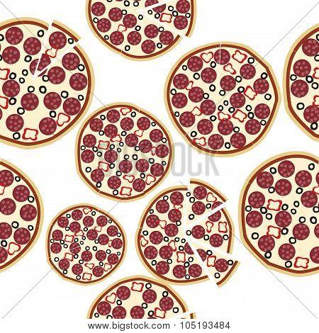 Sliced Fresh Salami Pizza, Seamless Background