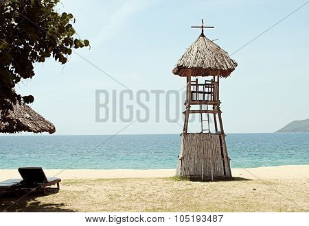 Bamboo Lifeguard Tower On The Beach In Vietnam