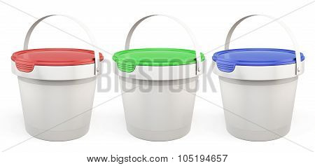 Template Plastic Buckets With Lids Various Colors. 3D.