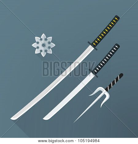 Vector Flat Samurai Weapon Set Illustration Icon.