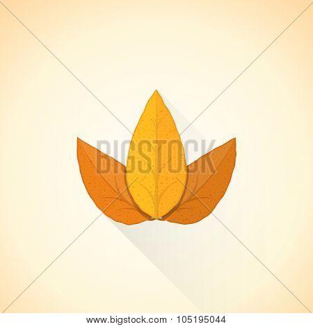 Vector Flat Threesome Tobacco Leaf Illustration Icon.