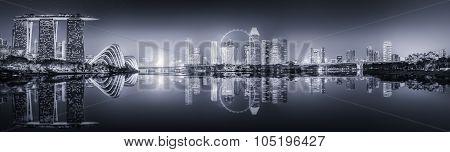 Singapore Skyline and Marina Bay, black and white