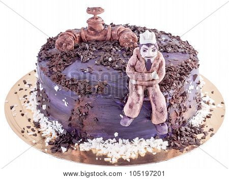 Black Handmade Cake With Engineer And Oil Pipe