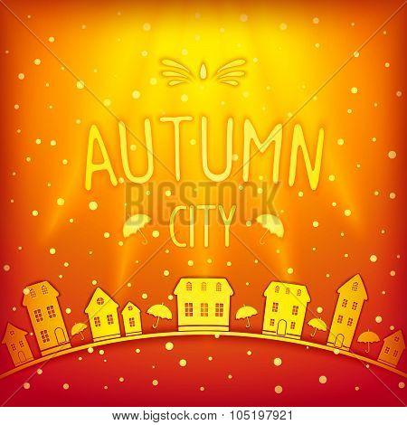 Sunny sparkling autumn city
