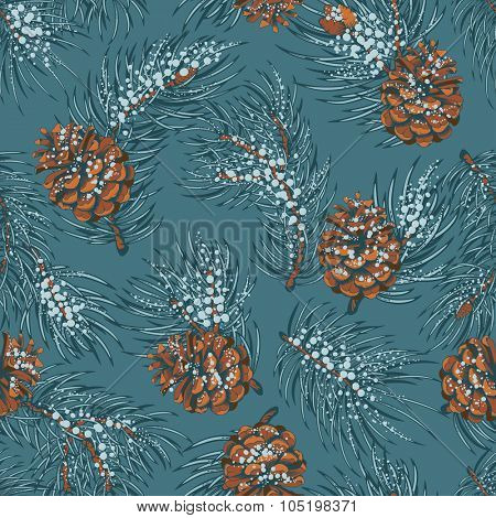 Christmas seamless vector pattern with frost on fluffy branches of fir-tree and pine cones. Hand drawn in vintage engraved style. Background for fabric, wrapping paper, web, greeting cards and other.