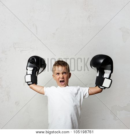 Little cute boy with boxing gloves celebrating his victory