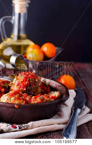 Delicious Meatballs Made From Ground Beef In A Spicy Tomato