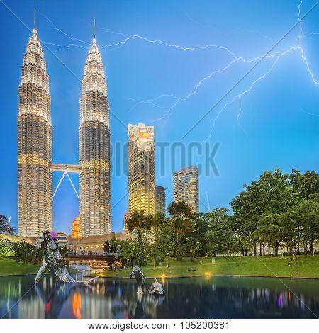 Dramatic scene of thunderstorm on Malaysia