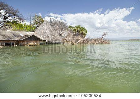 Flooded Resort At Lake Baringo In Kenya.