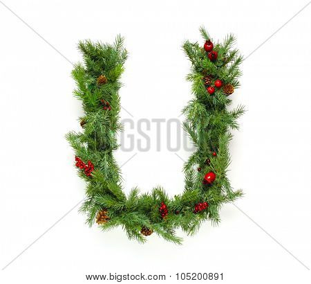 Christmas letters alphabet or font made of pine branches