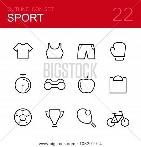 Sport vector outline icon set