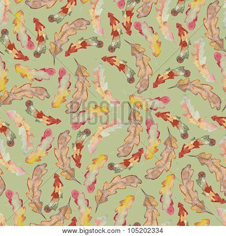 Watercolor oak autumn leaf seamless pattern