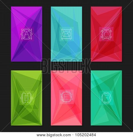 Abstract geometric backgrounds with monograms. Letters A-F