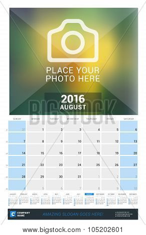 August 2016. Wall Monthly Calendar For 2016 Year. Vector Design Print Template With Place For Photo